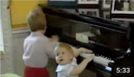 Prince William & Prince Harry Playing The Piano * England