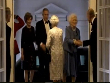 Queen Elizabeth Hosts Former Presidents Bush