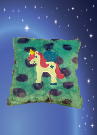 Blue Pegasus Pillow with Monster Feather