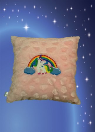 Rainbow Unicorn Pillow with Pink Heart Feather